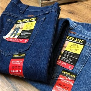 2 pairs of rustler men's regular fit jeans 40x32